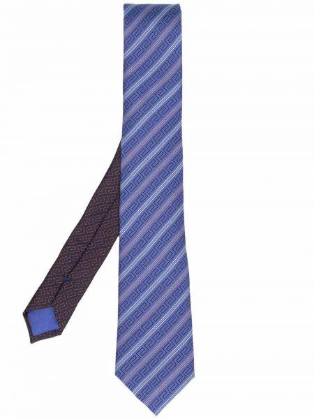 Krawat z printem - fioletowy Versace