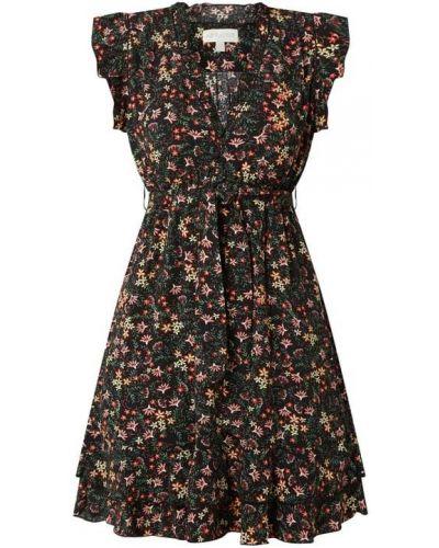 Czarna sukienka mini rozkloszowana z falbanami Apricot