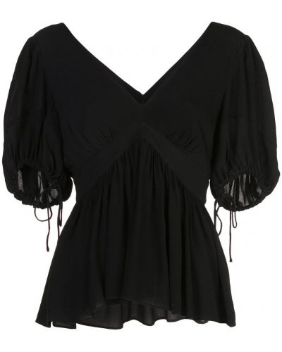 Блузка с V-образным вырезом черная Proenza Schouler