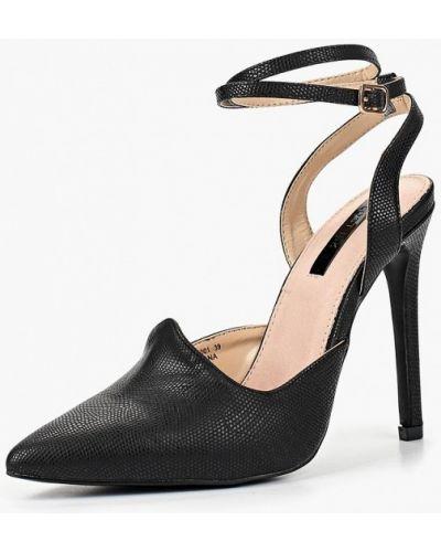 Туфли на каблуке черные кожаные Lost Ink.