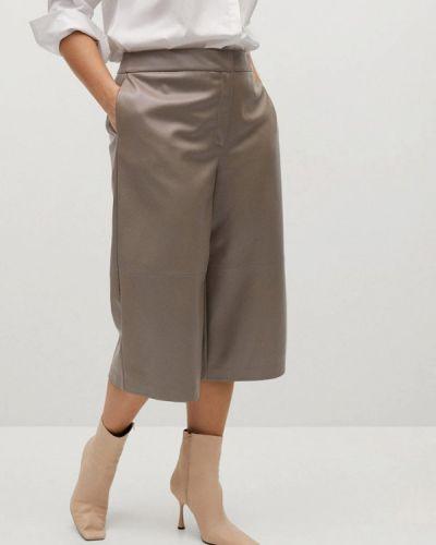 Бежевые брюки свободного кроя Violeta By Mango