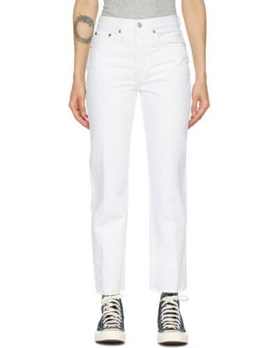 Skórzany niebieski jeansy do kostek z łatami Re/done