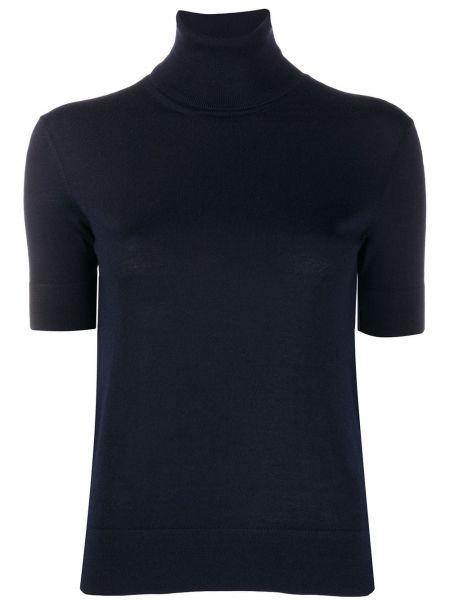 Кашемировый синий топ в рубчик с декоративной отделкой Ralph Lauren Collection