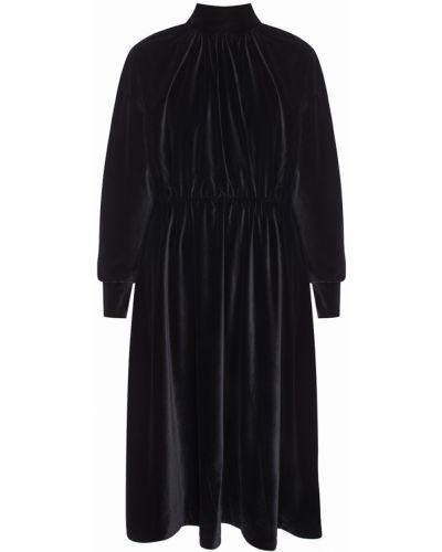Бархатное с рукавами черное платье A.w.a.k.e.