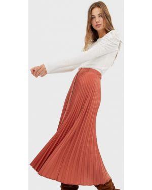 Плиссированная юбка на пуговицах Stradivarius