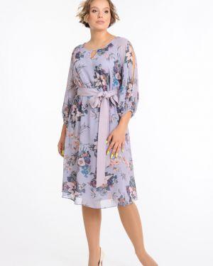 Платье с поясом с декольте с прозрачными рукавами Merlis