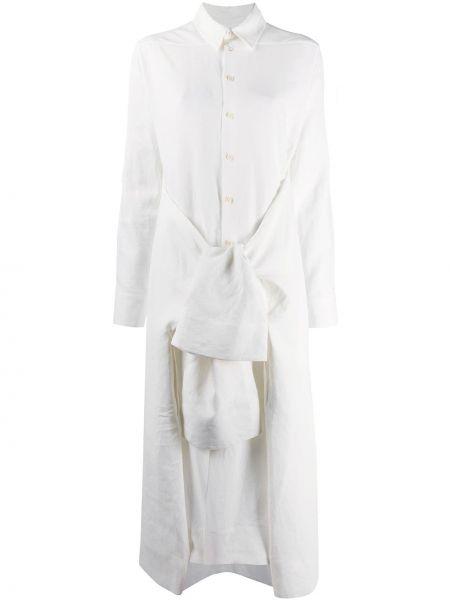 Biały krawat z długimi rękawami bawełniany Jil Sander