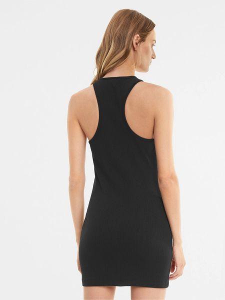Облегающее черное платье в рубчик Puma