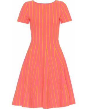 Коралловое платье миди из вискозы Carolina Herrera