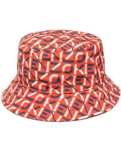 Pomarańczowy kapelusz bawełniany z printem Kenzo