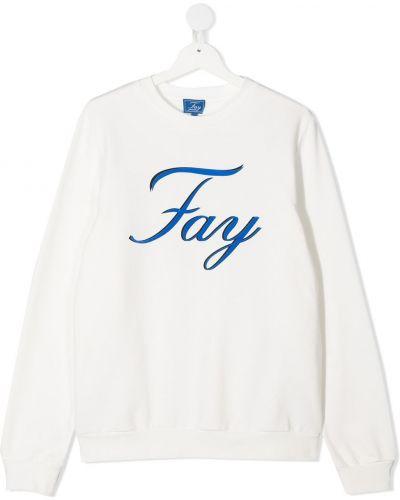 Прямой с рукавами хлопковый белый свитшот Fay Kids