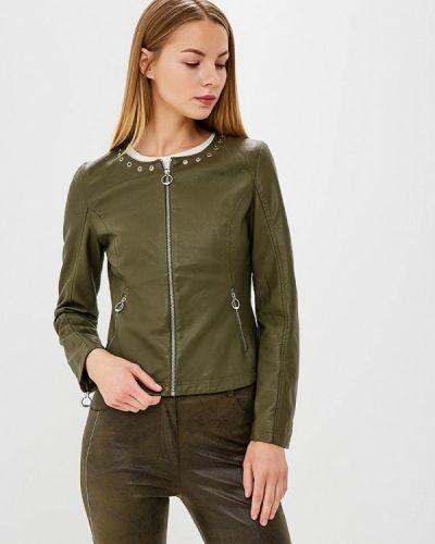 Кожаная куртка весенняя зеленая Laura Jo