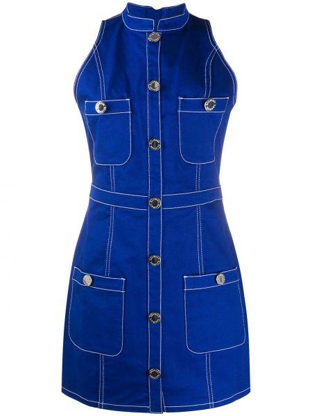Джинсовое платье на пуговицах с отложным воротником Balmain