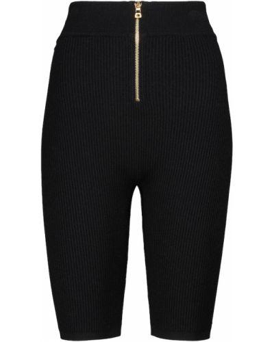 Prążkowane czarne szorty z wiskozy Balmain