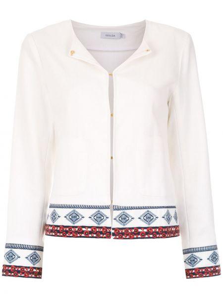 Белая куртка круглая с вырезом из вискозы Isolda