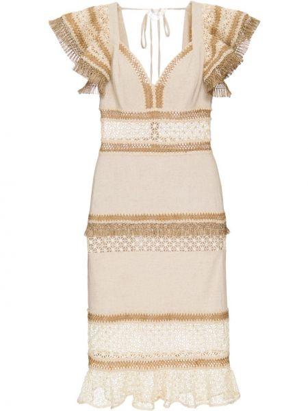 Приталенное ажурное платье миди с бахромой с V-образным вырезом Patbo