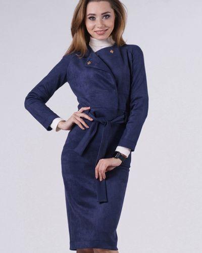 Синий вязаный юбочный костюм Evercode