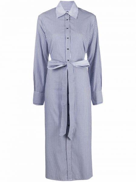 Niebieska sukienka koszulowa rozkloszowana w paski Evi Grintela