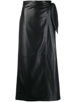 Черная кожаная юбка макси с запахом Nanushka