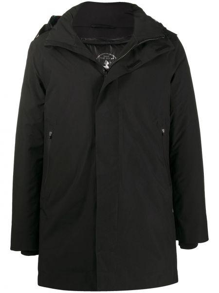 С рукавами черное длинное пальто на молнии Save The Duck