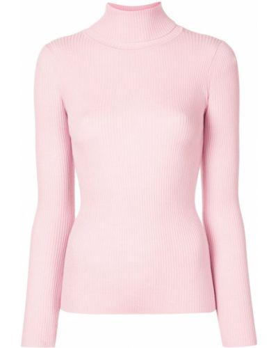 Прямой шерстяной розовый джемпер с длинными рукавами Paule Ka