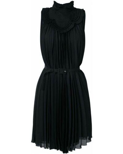 Платье на пуговицах с поясом шелковое Prada