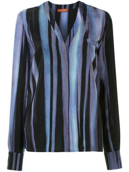 Прямая шелковая блузка с V-образным вырезом на пуговицах Altuzarra