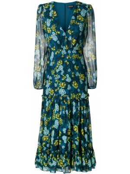 Платье миди с цветочным принтом с заниженной талией Saloni