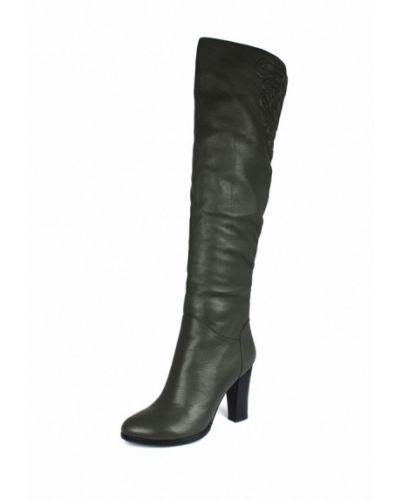 Ботфорты на каблуке кожаные хаки Blizzarini
