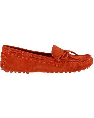 Оранжевые кожаные мокасины Francesco Valeri