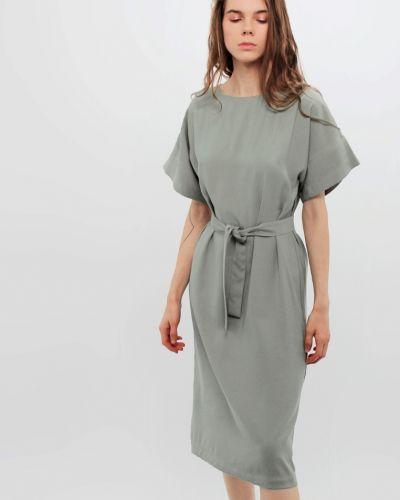 Платье с поясом хаки Dasti