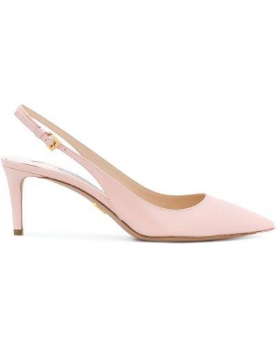 Туфли на высоком каблуке с ремешком кожаные Prada