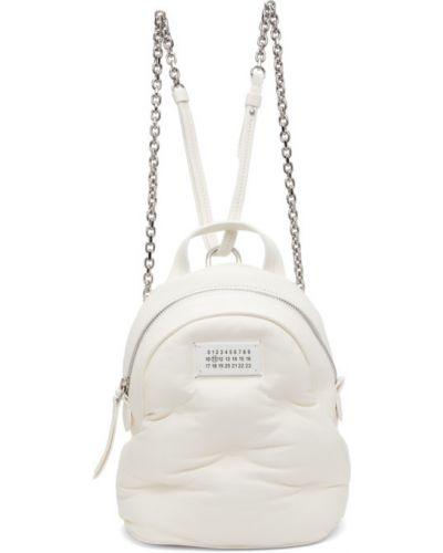 Белый кожаный рюкзак с карманами Maison Margiela