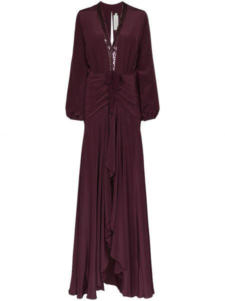 Фиолетовое приталенное платье макси с оборками с драпировкой Silvia Tcherassi