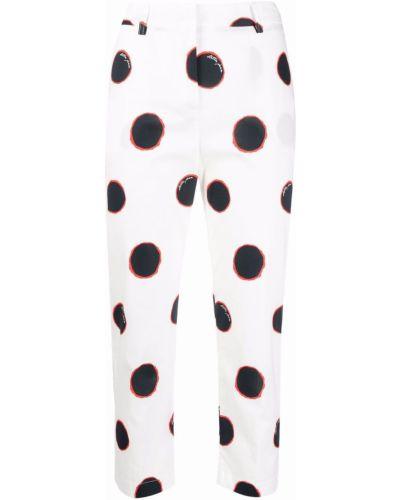 Хлопковые белые брюки в горошек Stella Jean