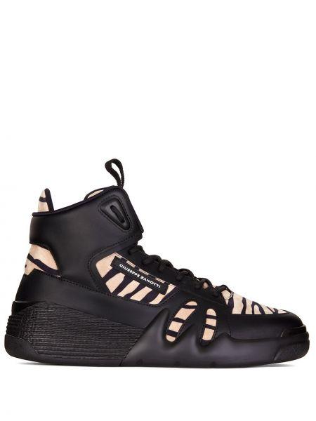 Ażurowy skórzany czarny wysoki sneakersy zasznurować Giuseppe Zanotti