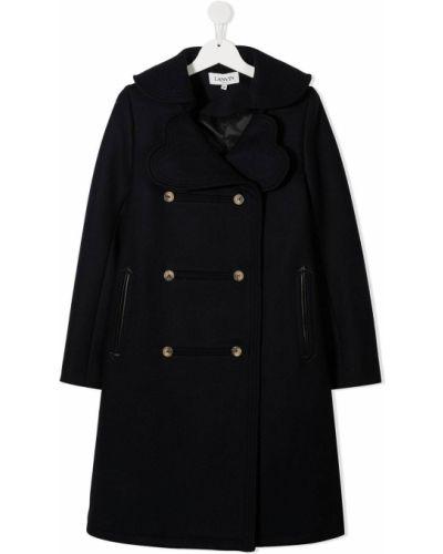 Шерстяное синее с рукавами длинное пальто с карманами Lanvin Enfant