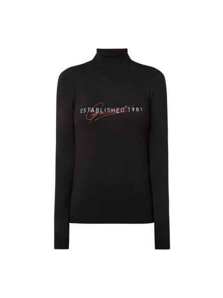 Czarny sweter z kołnierzem z wiskozy Guess