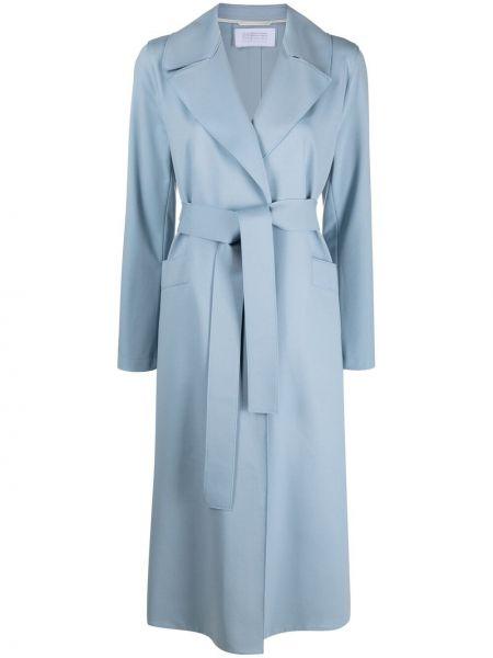 Синее длинное пальто свободного кроя с поясом Harris Wharf London