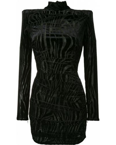 Czarna sukienka mini z długimi rękawami z printem Alex Perry