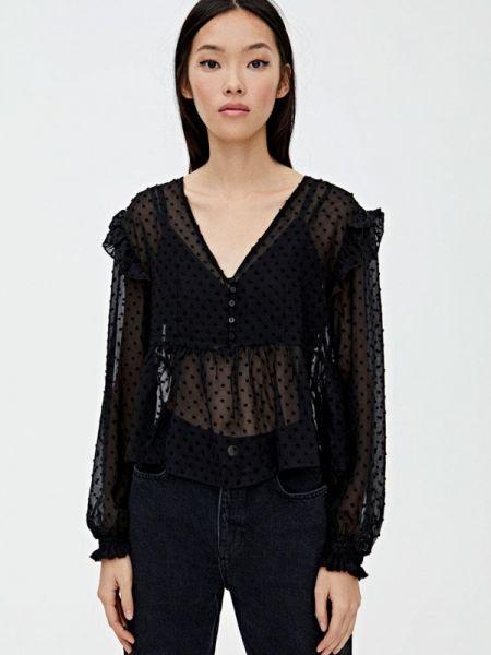 Блузка с длинным рукавом черная осенняя Pull&bear