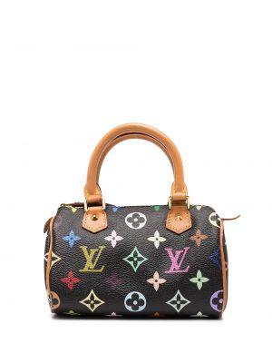 Черная кожаная сумка с ручками винтажная Louis Vuitton