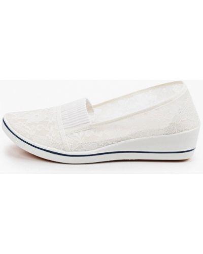 Текстильные белые туфли закрытые Exquily