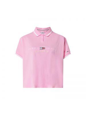 Różowy t-shirt w paski bawełniany Tommy Jeans