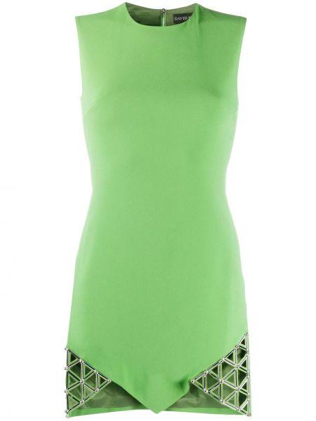 Zielona sukienka koktajlowa asymetryczna z wiskozy David Koma