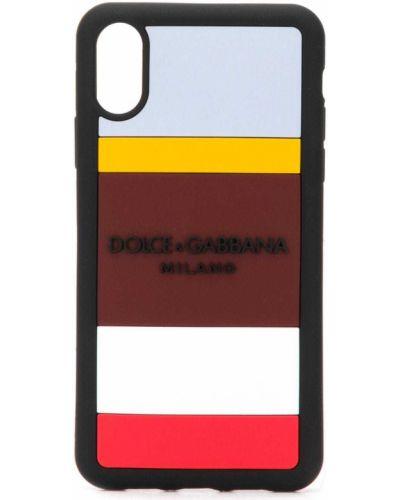 Silikon czarny etui na klucze wytłoczony z paskami Dolce And Gabbana