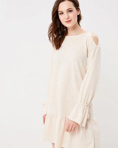Бежевое платье с длинными рукавами Glamorous