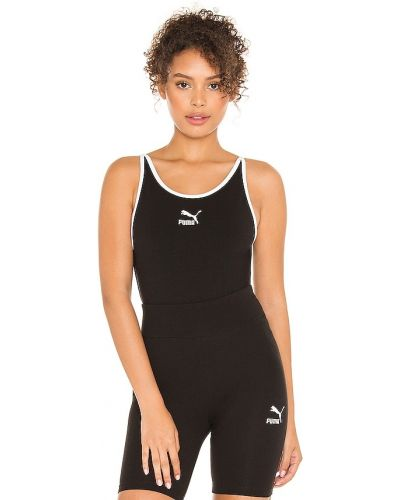 Czarny body sportowe bawełniany z printem Puma