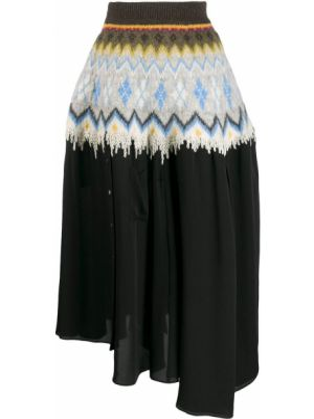 Асимметричная с завышенной талией юбка миди в рубчик с поясом Loewe