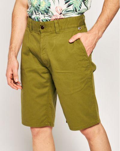 Zielone szorty jeansowe materiałowe Tommy Jeans